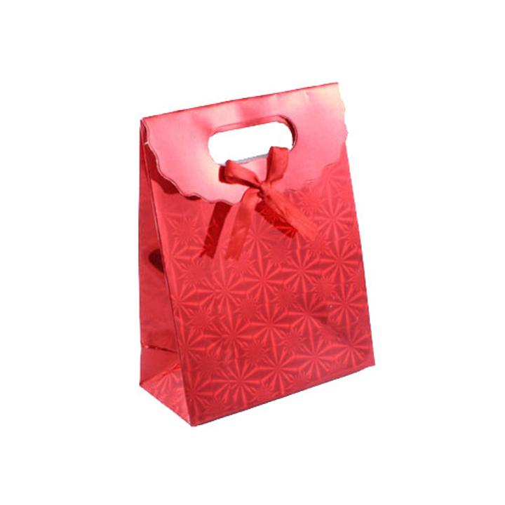 Small red star burst holographic gift bag